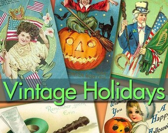 Digital collection Vintage Holidays day thanksgiving halloween july 4th st patrick, 240 images postcard for your scrap ephemera / C139