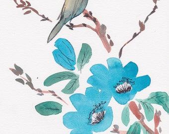 Blue Bird Blossom Watercolor Note Cards Box of 10