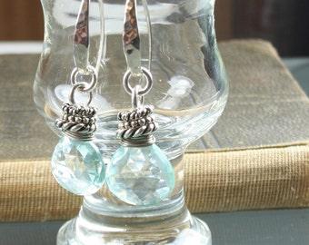 FINAL SALE * 50% OFF * earrings- aqua hydro quartz - sterling silver