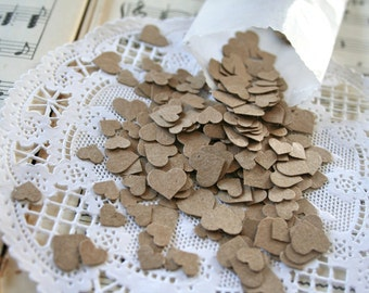 600 Wedding Confetti,  Hearts Kraft Paper Confetti