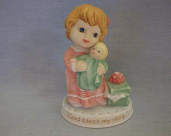 "Avon Tender Memories ""God Bless My Dolly"" Figurines, Avon, Little Girl Figurines, Avon Collectibles"