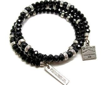 Ouija Board Memory Wire Bracelet - Ouija Board - Creepy Bracelet -  Halloween Wrap Bracelet - Black and Silver Bracelet - Gothic Bracelet