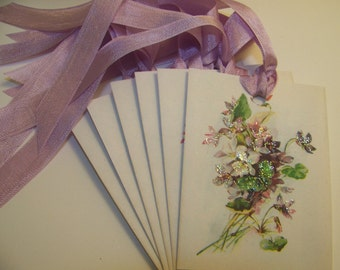 Floral Tags Violets Tags Shabby Vintage Style All Occasion Tags Place Card Favor Tags Set of 6 or 9
