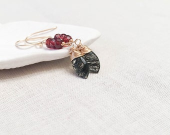 Rutilated Quartz and Garnet Drops - 14k Yellow Gold Fill Wire Wrapped Faceted Marquis Black Tourmalinated Quartz with Trios of Red Garnets