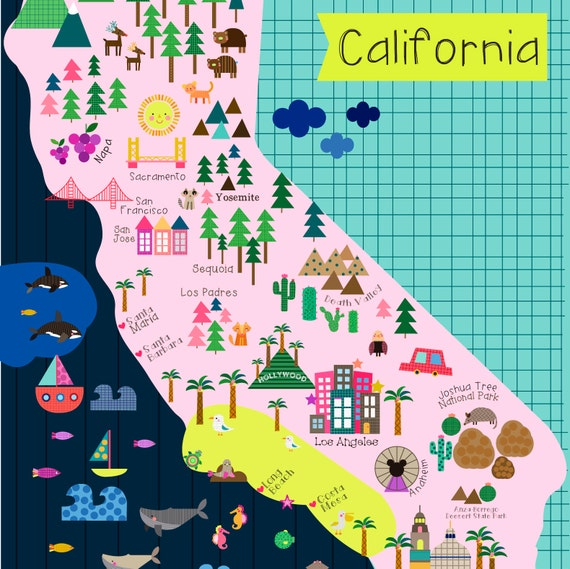 California Map Wall Print Decor Kids California - Mapa de california