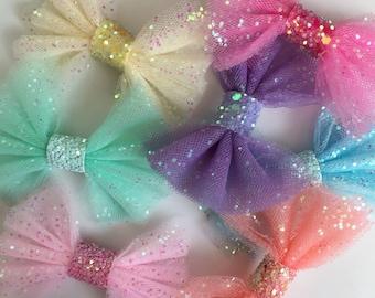 Glitter tulle mini bow. Hair clip or headband. Pretty girls hair accessories.