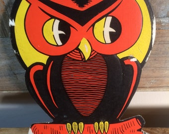 Vintage HE Luhrs Spooky Owl Halloween Decor 1940s 1950s Embossed Cardboard