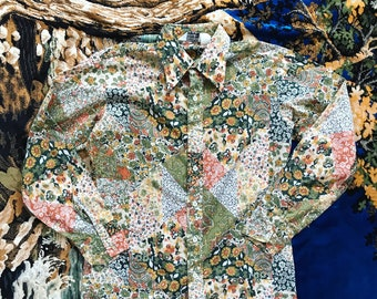 70s patchwork print button up