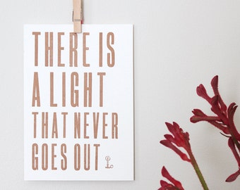 Letterpress Postcard Mini-Print – There Is A Light That Never Goes Out – Song Lyrics Wall Art, The Smiths Lyrics, Letterpress