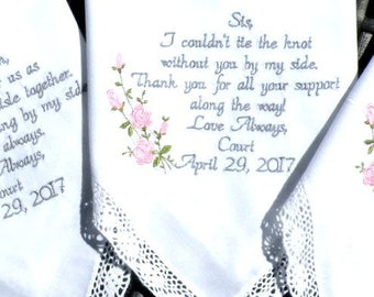 Embroidered Wedding Hankerchiefs, Wedding Gift, By Canyon Embroidery