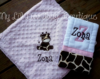 Personalized lovey blanket and burpcloth set- in light pink with brown giraffe print- minky baby lovey blanket