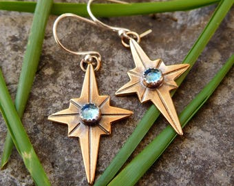 Brass North star earrings | Polaris jewelry | compass rose earrings | Labradorite Earrings | Stargazer earrings  Boho dangle earring
