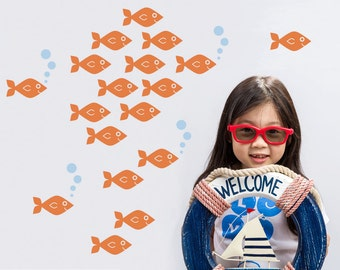 Baby Fish Wall Decals, Cute Ocean Nursery Underwater Kids Sea Life Under-the-Sea Aquarium Nautical Room Decor: SWIM RIGHT