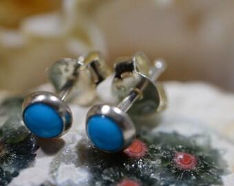 Turquoise Stud Earrings Sleeping Beauty Turquoise post Earrings,Sterling Silver Jewelry  Small Stud Earrings Gemstone Earrings