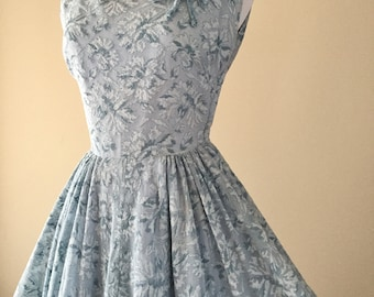 Vintage 50's Dress, 1950's Circle Skirt Dress, Blue Full Skirt Swing, Party Dress, XS