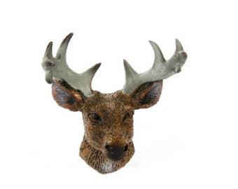 Fairy Garden Dollhouse Miniature Deer Head with Antlers 1:12 Scale