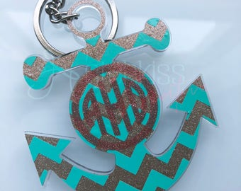 Anchor Keychain   Custom Anchor Keychain   Monogram Keychain   Monogram Anchor   Personalized Keychain   Custom Keychain