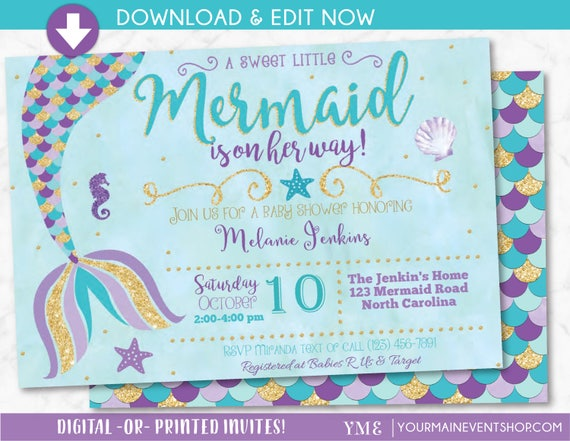 Mermaid Baby Shower Invitation Little Mermaid On The Way Baby