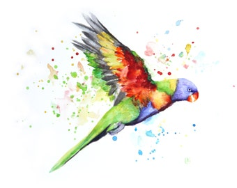 Parrot painting, Original watercolor, Boba painting, Watercolor art