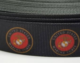 Marine Corp Grosgrain Ribbon  - USMC Logo - SHIPS FAST