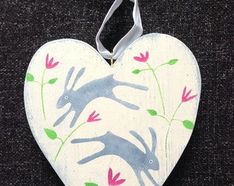 Wooden heart, hand painted, hares, flowers, nursery gift, collectibles, childs gift, christening gift, made in Cornwall