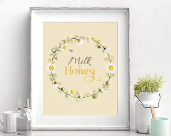 Rustic Milk and Honey Farmhouse Print - Instant Download