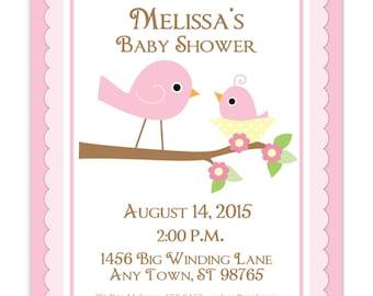 Baby Shower Invitation, oiseaux Sweet baby invitation de douche, inviter les oiseaux, personnalisé pour vous, 4 x 6 ou 5 x 7 taille - rose oiseaux invitent - Print je vous