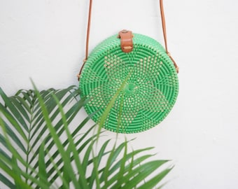 Womens Round Straw Bag. Woven straw bag. Round Rattan Bag
