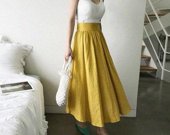 Mustard Linen Skirt, Maxi Linen Skirt, Linen maxi dress, Linen maxi skirt , Linen long Skirt,romantic skirts, linen dress,Yellow Linen Skirt