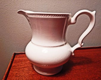 LORD NELSON Creamer Pitcher    Glazed Pottery Made in England;  White  Vintage Pitcher