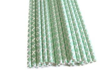 Mint Paper Straws 25 Count, Mint Green Paper Straws, Mint Damask Paper Straws, Mint Party Straws, Mint Green Damask, Pastel Green Straws