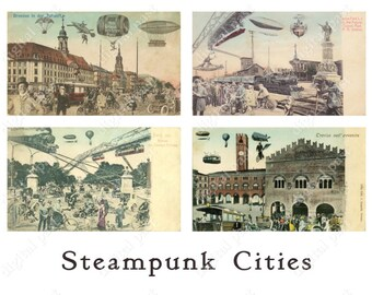 STEAMPUNK CITY digital collage sheet - Instant Download - printable vintage postcard collection - future cities, blimp, airship, zeppelin