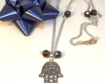 Hamsa Necklace - Hand of God Necklace - Charm Necklace - Gifts for Her - Gifts under 50