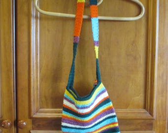 Hand crocheted shoulder bag in rainbow colours