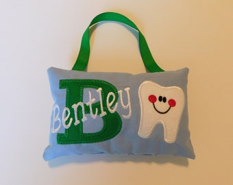 Light Blue and Green Tooth Fairy Pillow, Lost Tooth