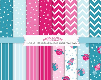 ROCKET Scrapbooking Paper Pack in Pink and Teal