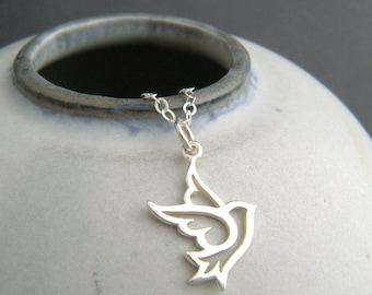 """tiny sterling silver dove necklace small bird peace symbol whimsical animal pendant spiritual spirit simple love memorial jewelry charm 1/2"""""""