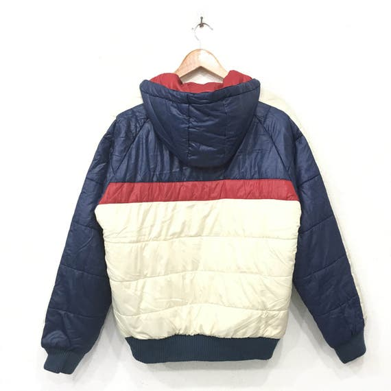 Rare!! FILA Bella Italia JACKET Hoodies Bubble bomber Sweater Zipper Down Big Block Multicolour Small logo Embroidery Large Size