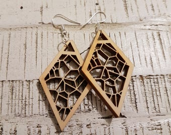 Wooden Diamond Latticework earrings