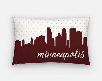 Minneapolis skyline pillow | Minneapolis home decor | Minneapolis pillow | Minnesota home decor | gold polka dot pillow | skyline pillow
