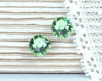 Green Studs August Birthstone Crystal Stud Earrings Green Crystal Studs Surgical Steel Studs Peridot Green Jewelry