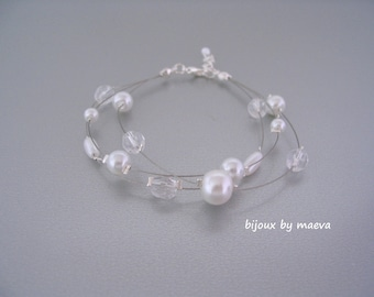 wedding jewelry white pearl bracelet for bride