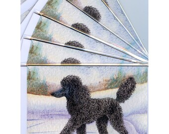 6 x black Poodle ice skating holiday or Christmas greeting cards standard dog skater figure on ice from a Susan Alison watercolor painting