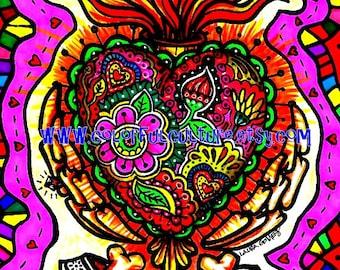 """Corazon Sagrado/ Sacred Heart""""-Art Print by LAURA GOMEZ- 8""""x10"""" Or 11x14""""-Day of the Dead- Dia de los Muertos-Mexican Folk Art"""