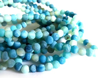 100 Pcs - Matte Finish Agate Gemstone Beads in Shades of Blue - 6mm
