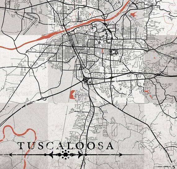 TUSCALOOSA AL Canvas Print AL Alabama map Vintage map Al Town