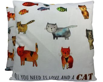 Cats | Pillow Cover | Cat Lover Gifts | Throw Pillow | Home Decor | Crazy Cat Lady | Gift for Her | 18 x 18 | Cat Decor Pillow | Cat Gift