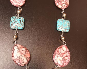 Pink and Blue square with tear drop necklace a
