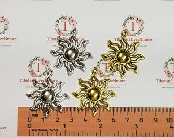 6 pcs per pack 32mm Sunburst Antique Silver or Gold Finish Lead Free Pewter