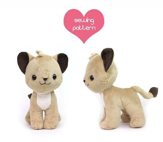 PDF sewing pattern Lion Cub stuffed animal chibi cat
